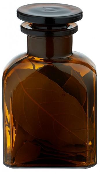 Gewürzglas Idee: Vierkant-Apothekerflasche 150 ml Weithals Braunglas inkl. Glasstopfen