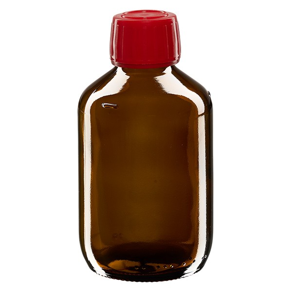 Flacon médical 250 ml couleur ambrée avec bouchon rouge