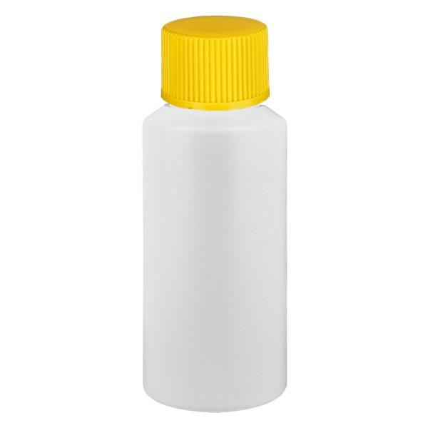 Flacon cylindrique en PET blanc 30 ml, S20x3, sans bouchon