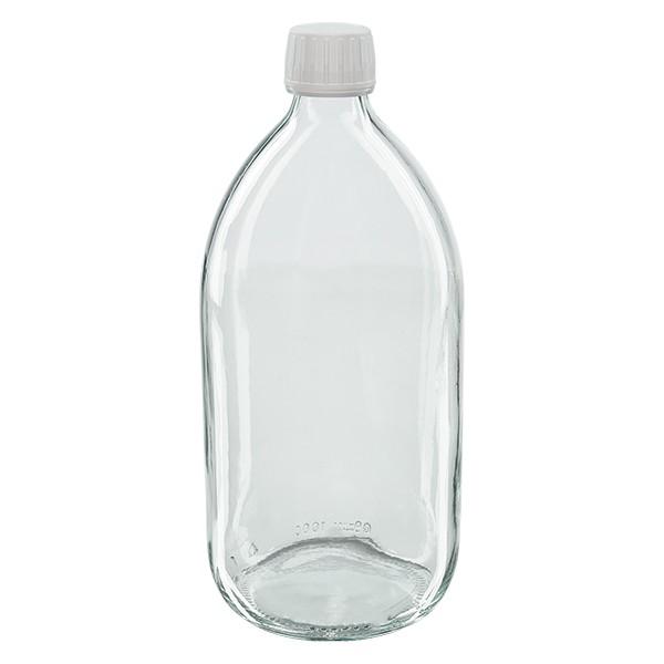 Flacon médical 1000 ml couleur claire avec bouchon blanc