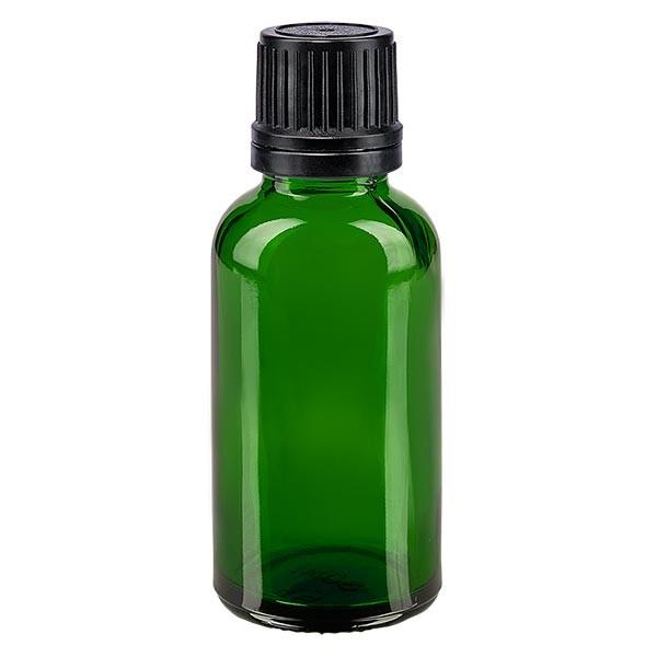 Flacon pharmaceutique vert 30 ml bouchon compte-gouttes noir bague inviolable