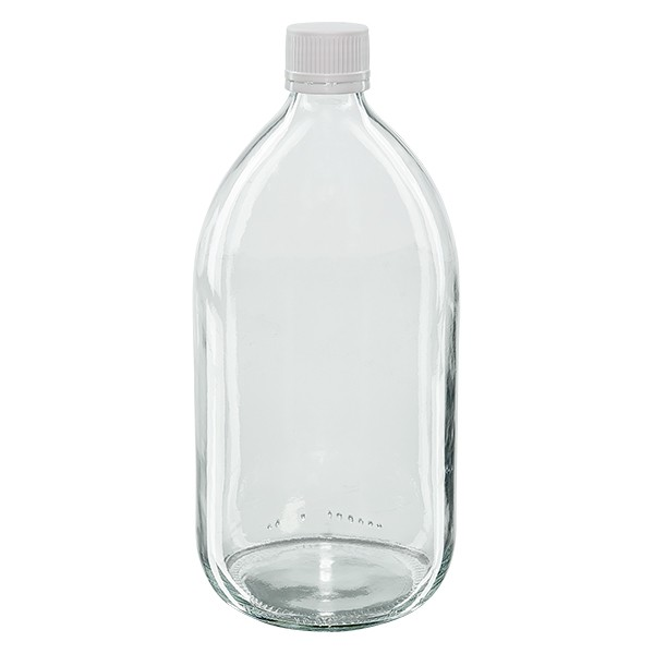Flacon médical 1000 ml couleur claire avec bouchon blanc strié