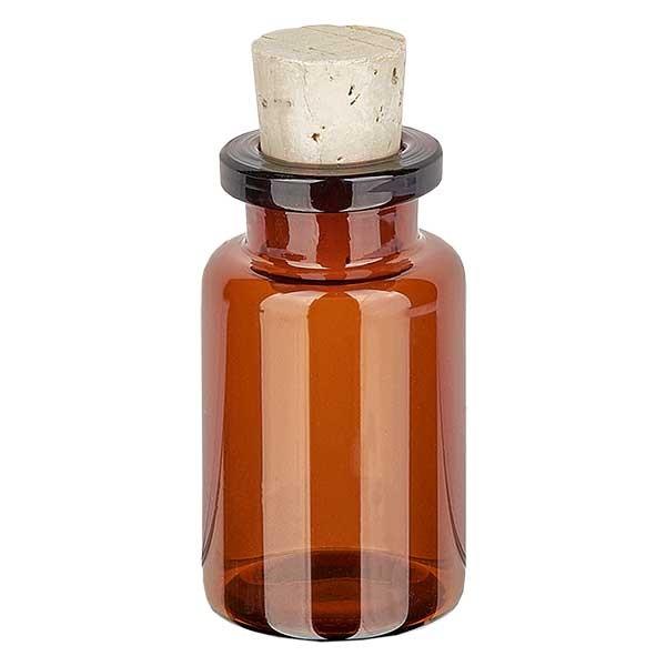 Flacon en verre ambré 10 ml avec bouchon de liège 11/14 mm