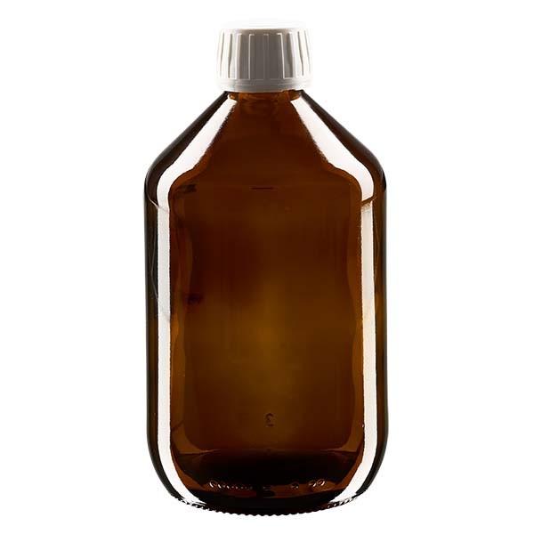 Flacon médical de 500 ml avec bouchon blanc