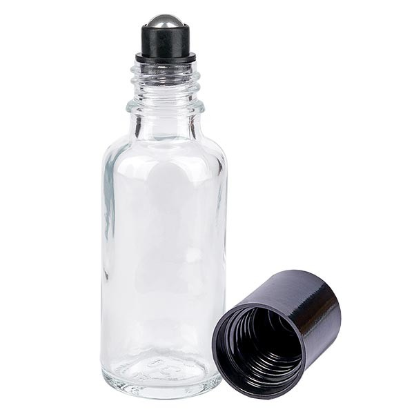 Flacon de déodorant en verre clair 30 ml, déo à bille vide