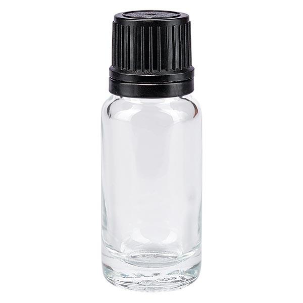 Flacon pharmaceutique clair 10 ml bouchon compte-gouttes noir bague inviolable