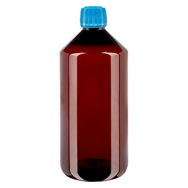 Flacon médical de 1000 ml en PET, avec bouchon à vis bleu PP28