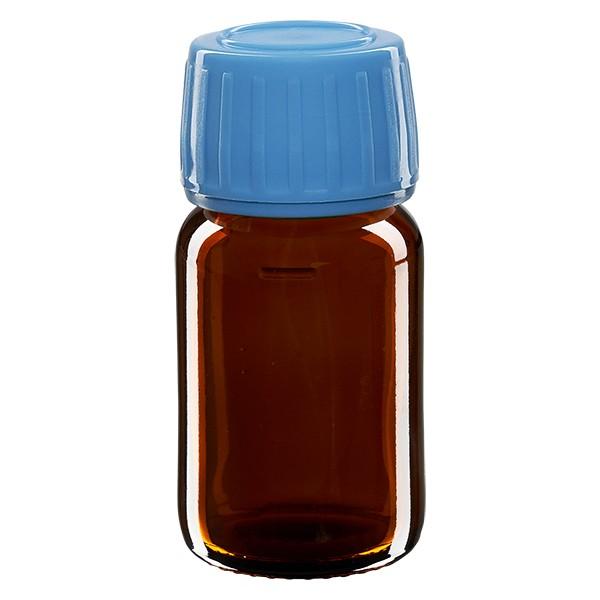 Flacon médical 30 ml couleur ambrée avec bouchon bleue