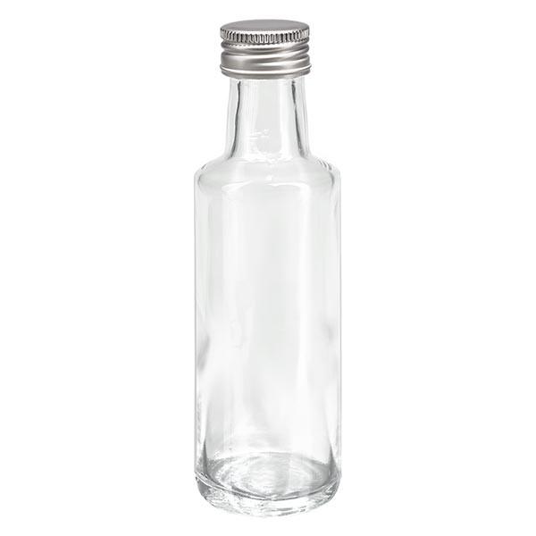 Bouteille à liqueur 100 ml ronde, en verre clair + capsule à vis argentée en aluminium (PP 24 mm)