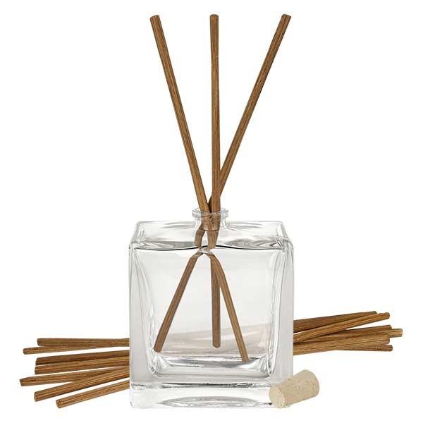 Flacon Quadra 100ml + 10 bâtons à parfum foncés + bouchon de liège