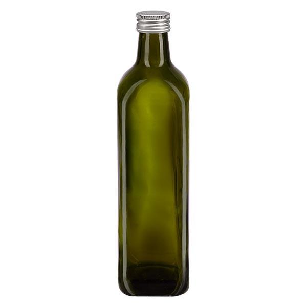 Bouteille d'huile 750 ml carrée, vert olive + capsule à vis en aluminium argenté (PP 31,5 mm)