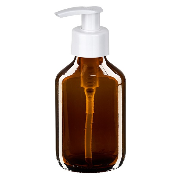 Flacon médical de 150 ml avec pompe doseuse blanche
