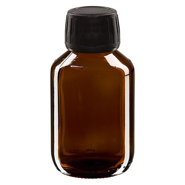 Flacon médical 100 ml couleur ambrée avec bouchon noir