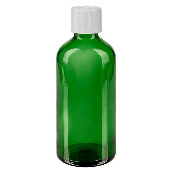 Flacon pharmaceutique vert 100 ml bouchon á vis blanc séc. enf. standard