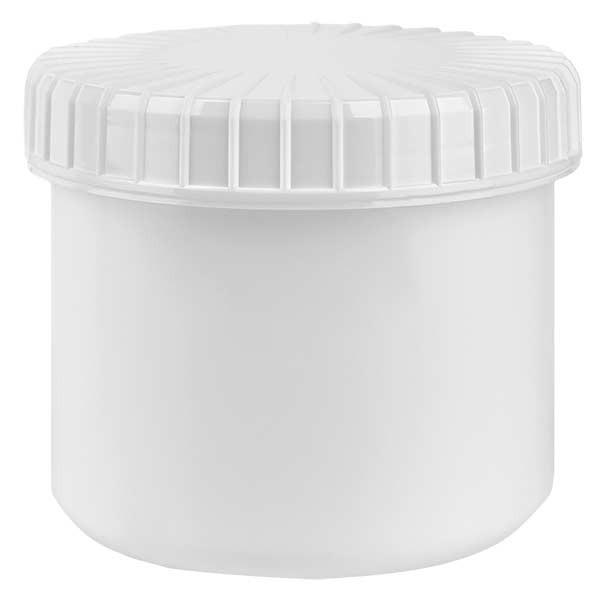 Pot en plastique blanc 135 ml + couvercle à vis blanc strié en PE, fermeture standard