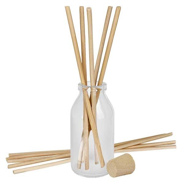 Flacon Round 100ml + 10 bâtons à parfum clairs + bouchon de liège