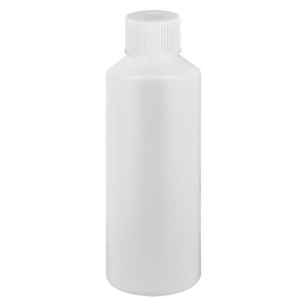 Flacon cylindrique en PET blanc 100 ml, S20x3, avec bouchon