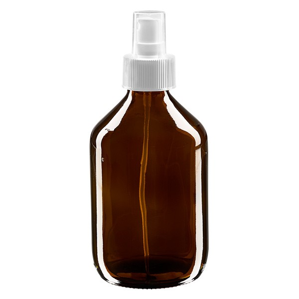 Flacon médical norme européenne de 300 ml avec spray blanc GCMI 28/410 et couvercle transparent, standard