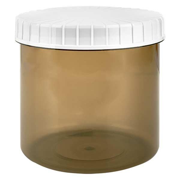 Pot en plastique couleur Shadow 375 ml + couvercle à vis blanc strié en PE, fermeture standard