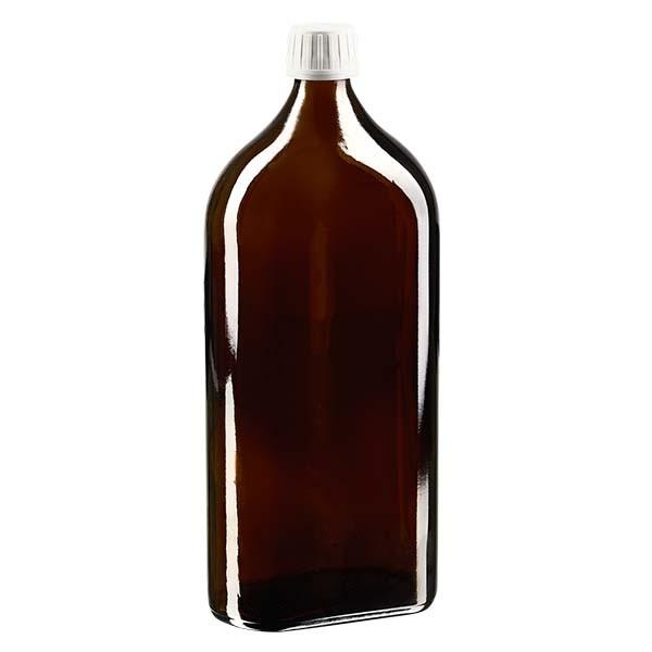 Flasque brune de 1 000 ml au goulot PP 28, avec bouchon à vis PP 28 blanc, joint en PEE et système d'inviolabilité