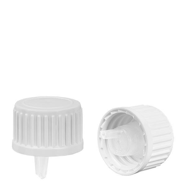 Bouchon compte-gouttes 0,9mm blanc 18mm standard