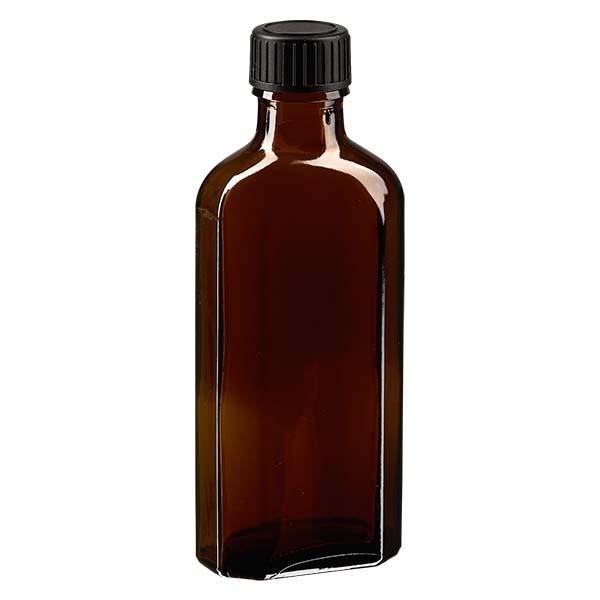 Flasque brune de 100 ml au goulot DIN 22, avec bouchon à vis DIN 22 noir au joint LKD