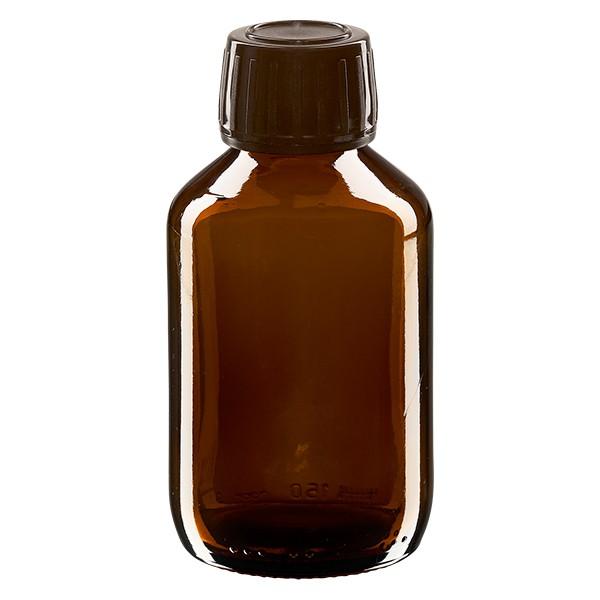Flacon médical 150 ml couleur ambrée avec bouchon brun
