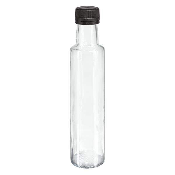 Bouteille à liqueur 250 ml ronde, transparente + capsule à vis noire (PP 31,5 mm), bague anti-gouttes et système d'inviolabilité