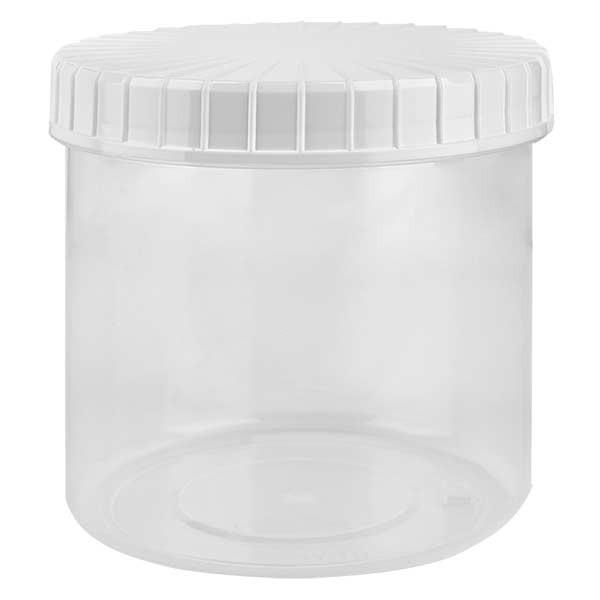 Pot en plastique transparent 375 ml + couvercle à vis blanc strié en PE, fermeture standard
