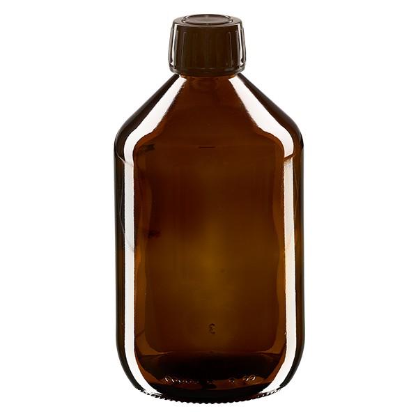 Flacon médical 500 ml couleur ambrée avec bouchon brun