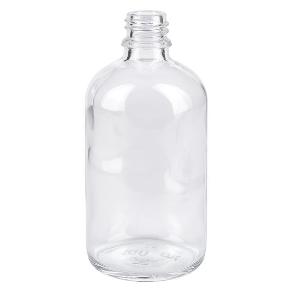 Flacon compte-gouttes 100 ml DIN18 - verre clair