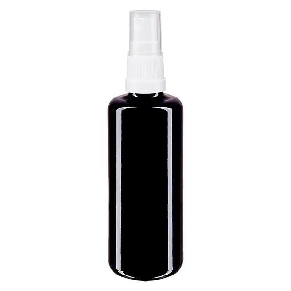 Flacon en verre violet 100 ml DIN18 (verre Miron) avec spray