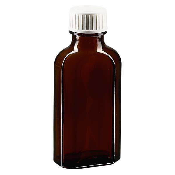 Flasque brune de 50 ml au goulot DIN 22, avec bouchon à vis DIN 22 blanc en PP et joint mousse en PE