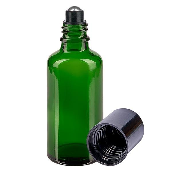 Flacon de déodorant en verre vert 50 ml, déo à bille vide