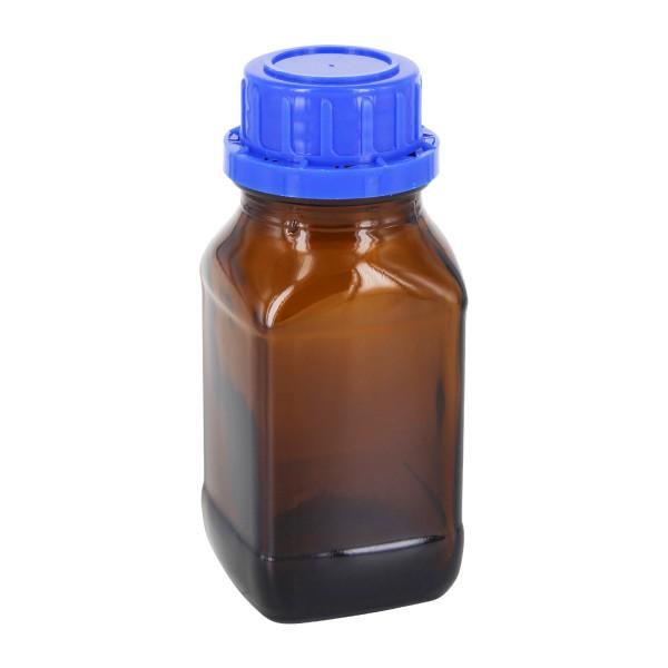 Flacon carré à col large en verre ambré 100 ml, avec bouchon à vis bleu de norme DIN 32, système d'inviolabilité et joint en PEE
