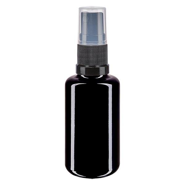 Flacon en verre violet 30 ml DIN18 (verre Miron) avec spray