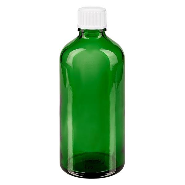 Flacon pharmaceutique vert 100 ml bouchon a vis blanc standard