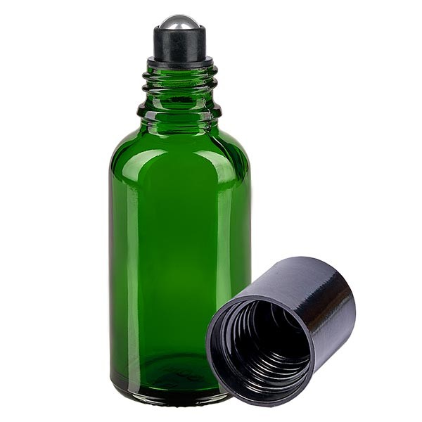 Flacon de déodorant en verre vert 30 ml, déo à bille vide