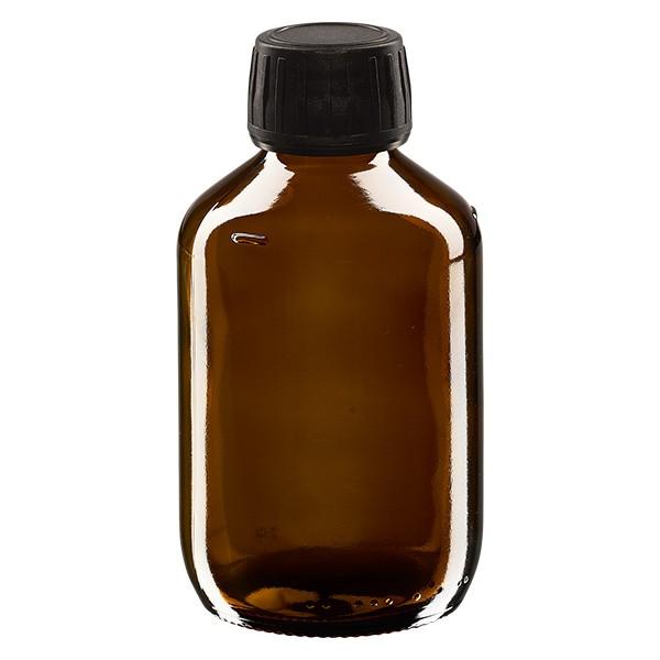 Flacon médical 250 ml couleur ambrée avec bouchon noir