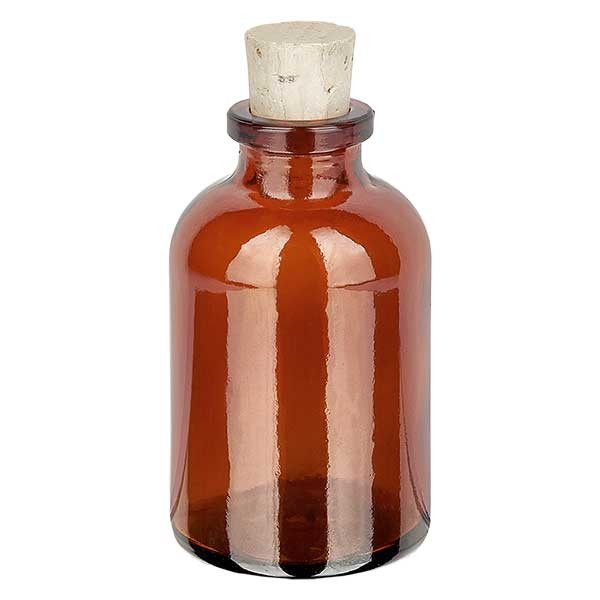 Flacon en verre ambré 30 ml avec bouchon de liège 11/14 mm