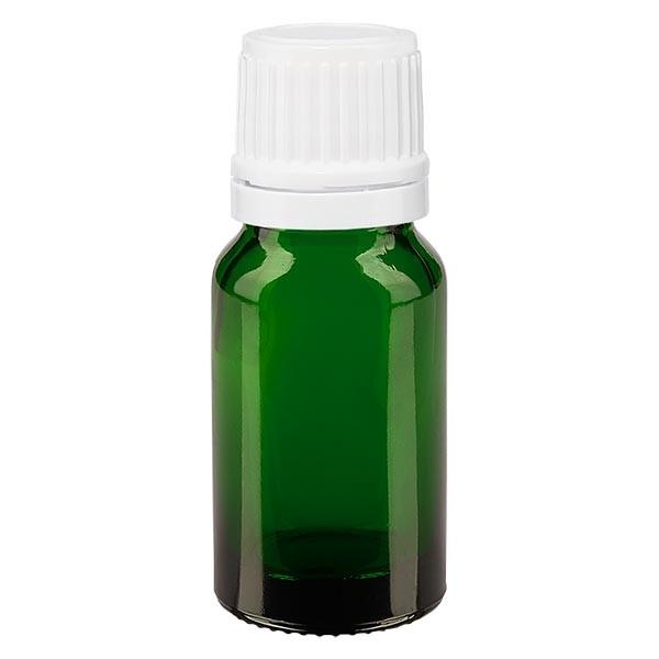 Flacon pharmaceutique vert 10 ml bouchon compte-gouttes blanc bague inviolable