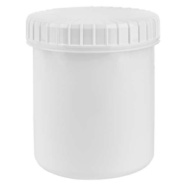 Pot en plastique blanc 180 ml + couvercle à vis blanc strié en PE, fermeture standard