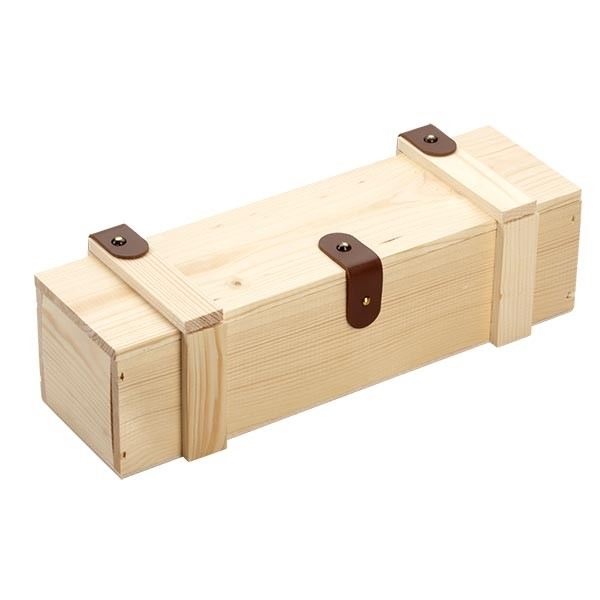 Holzbox mit Klappdeckel u Lederbeschlägen 34x9x9cm geschlossen