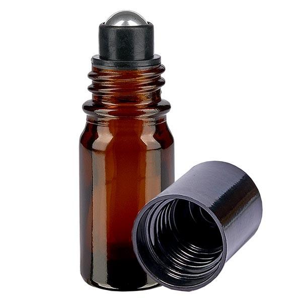 Flacon de déodorant en verre ambré 5 ml, déo à bille vide