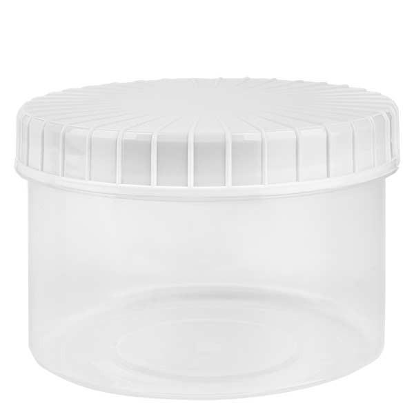 Pot en plastique transparent 250 ml + couvercle à vis blanc strié en PE, fermeture standard