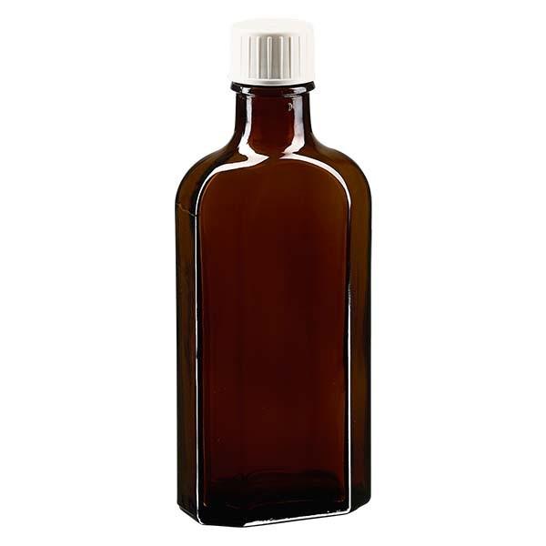 Flasque brune de 125 ml au goulot DIN 22, avec bouchon à vis DIN 22 blanc et bague anti-gouttes