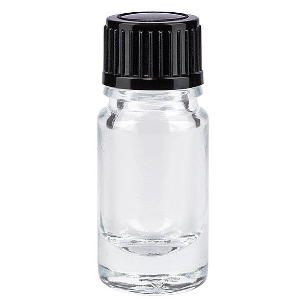 Flacon pharmaceutique clair 5ml bouchon compte-gouttes 1 mm noir standard