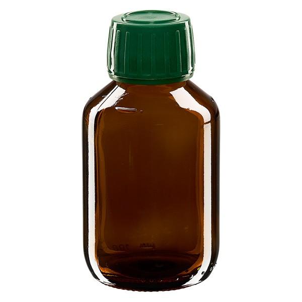 Flacon médical 100 ml couleur ambrée avec bouchon verte