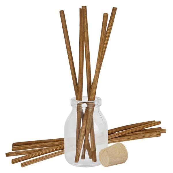 Flacon Round 50ml + 10 bâtons à parfum foncés + bouchon de liège
