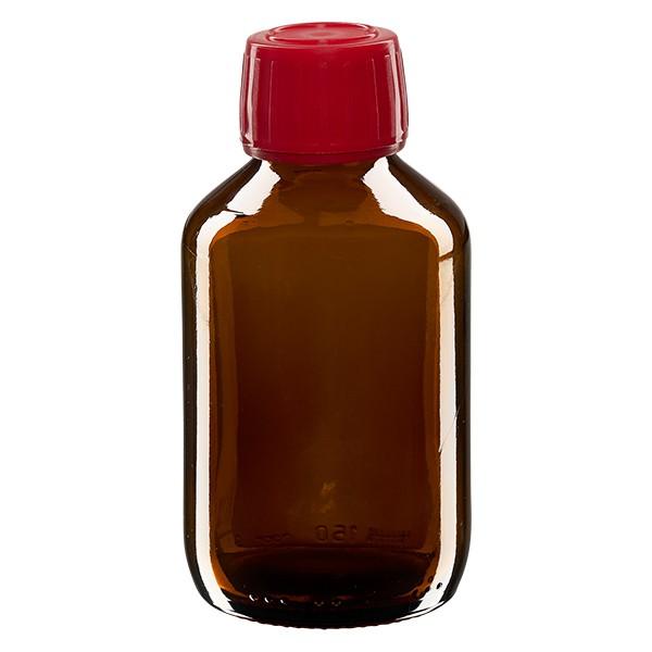 Flacon médical 150 ml couleur ambrée avec bouchon rouge